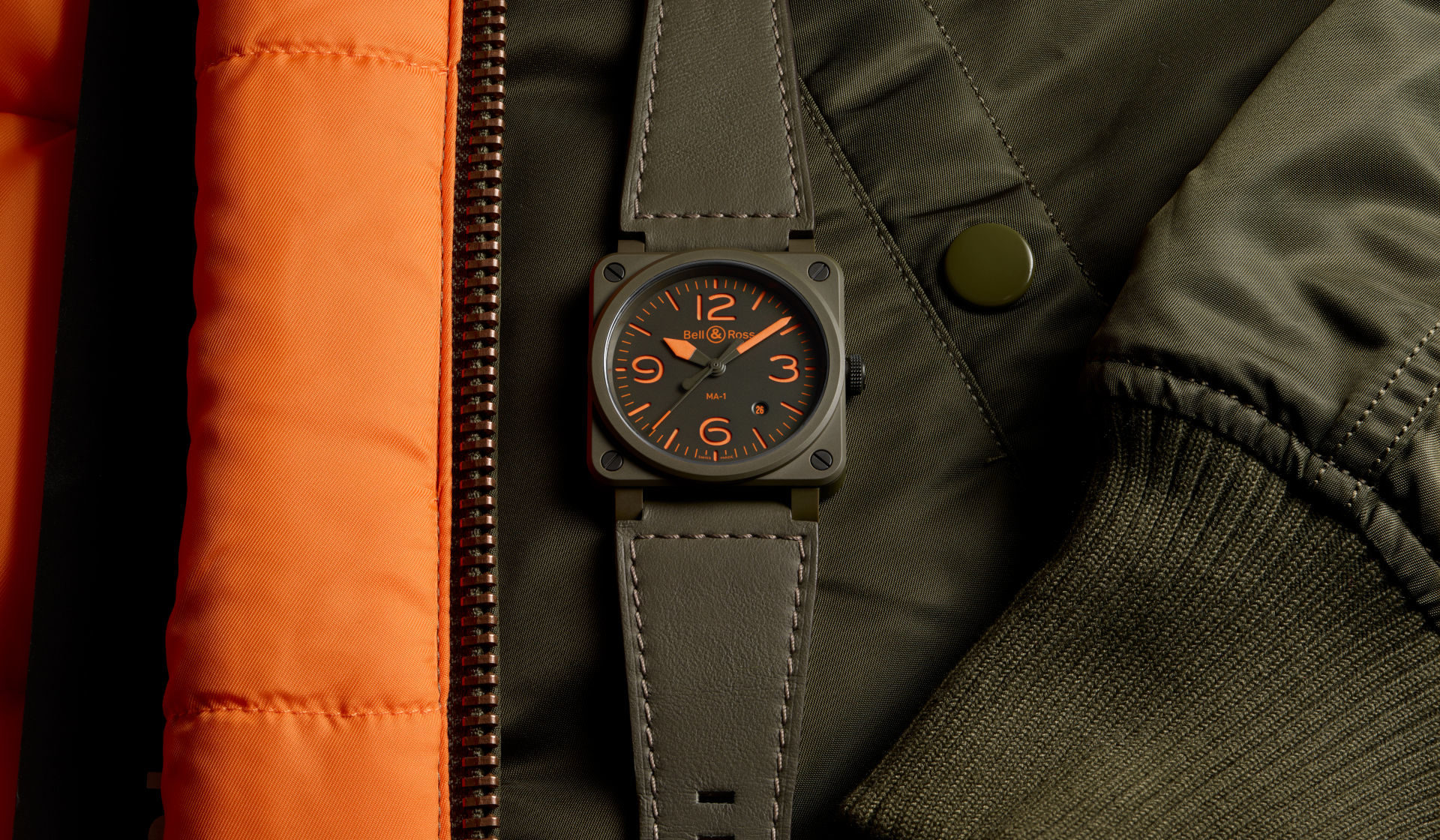 Inspired by the iconic bomber jacket, the new Bell & Ross BR03-92 MA-1 takes flight