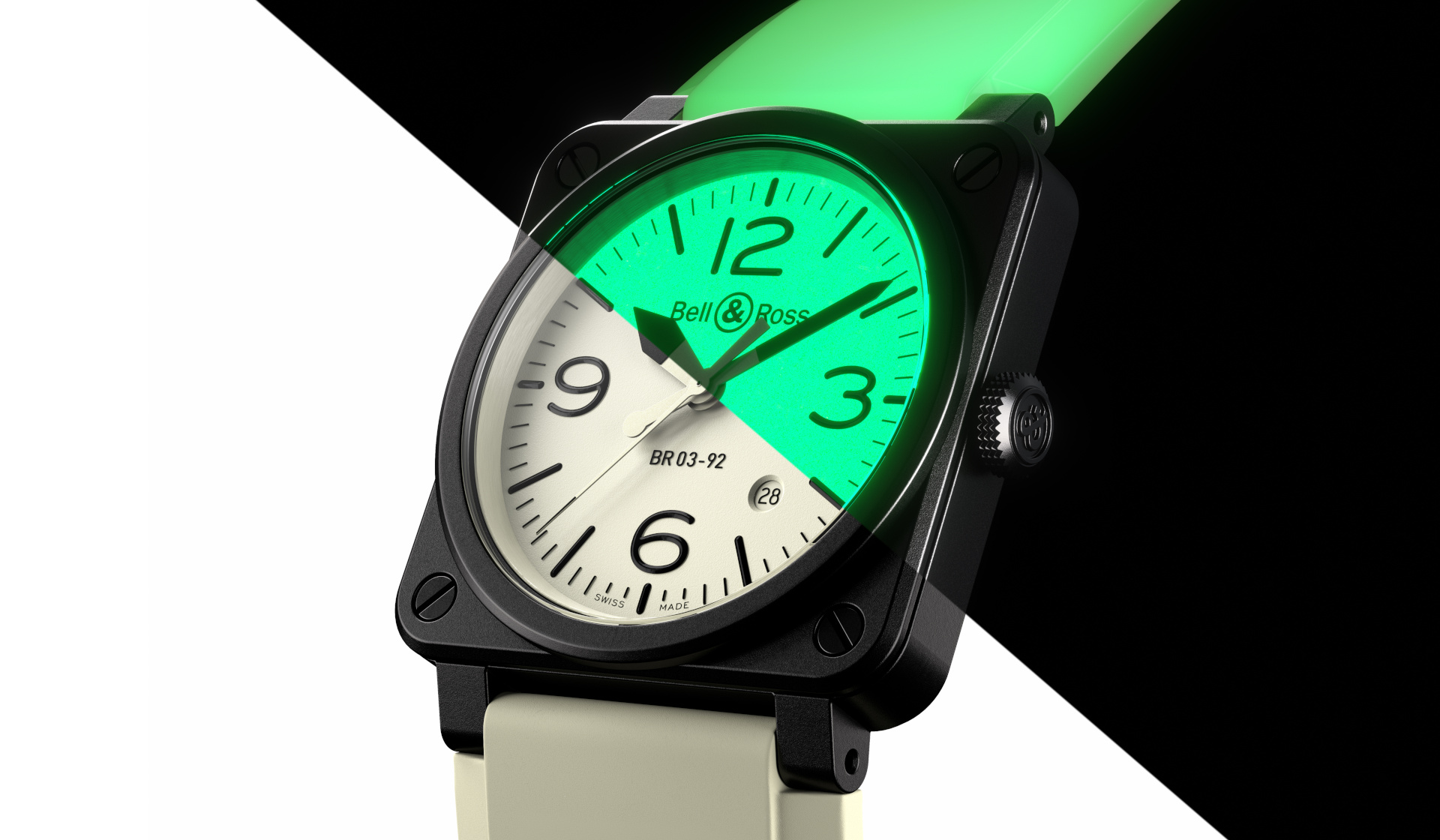 The Bell & Ross BR 03-92 Full Lum shines in the absence of light