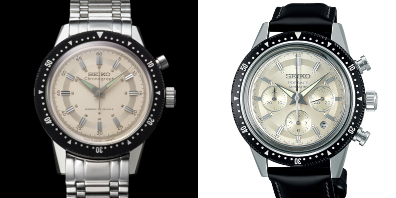 Seiko Crown Chronograph (left) and the Seiko Presage SRQ031 (right)