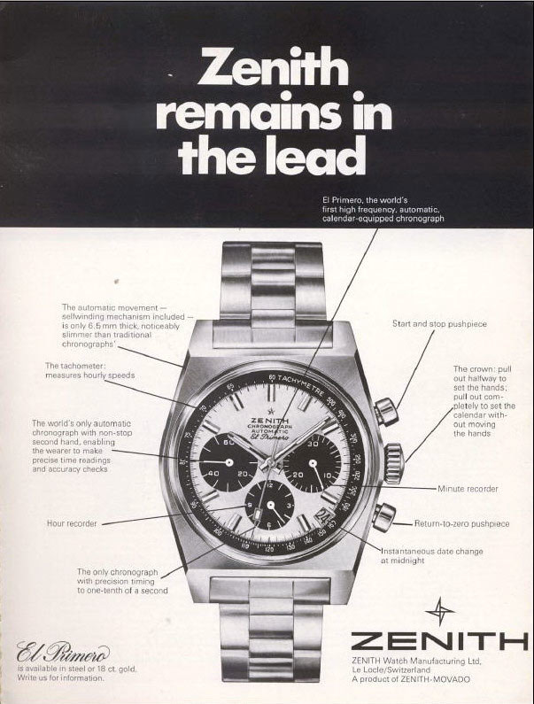Zenith el primero advertisement from 1969